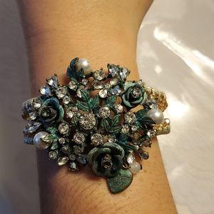 Betsey Johnson teal floral bracelet